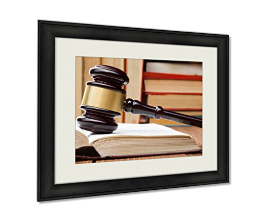 Cheap  Ashley Framed Prints Law Book With Wooden Judges Gavel On Table In..