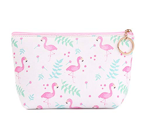 Small Cute Cosmetic Bag For Women Travel Accessories Bag Makeup Pouch Durable Waterproof Organizer Handbag With Zipper Toiletry Bag Flamingo Pattern(White)