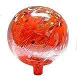 Glass Gazing Ball''Circus Orange Iridized'' 12 Inch by Iron Art Glass Designs