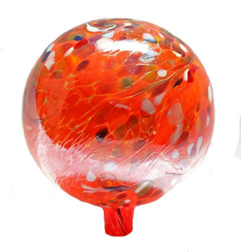 - Glass Gazing Ball Circus Orange Iridized 12 Inch by Iron Art Glass Designs