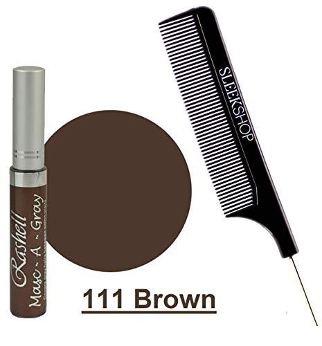 Rashell MASC-A-GRAY Finest Hair Mascara for GRAY HAIR (w/Sleek Steel Pin Tail Comb) Mask Grey (111 Brown)