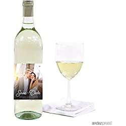 Andaz Press Photo Personalized Beloved Wedding Collection, Wine Bottle Labels, 20-Pack, Custom Image