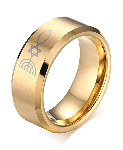 Vnox 18K Gold Plated Stainless Steel Messianic Menorah Star of David Cross Fish Wedding Band Ring,Size 12 Menorah Ring