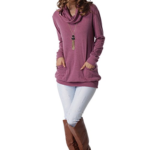 levaca Womens Shirts Long Sleeve Button Pocket Casual Slim Tunic Tops Purple L