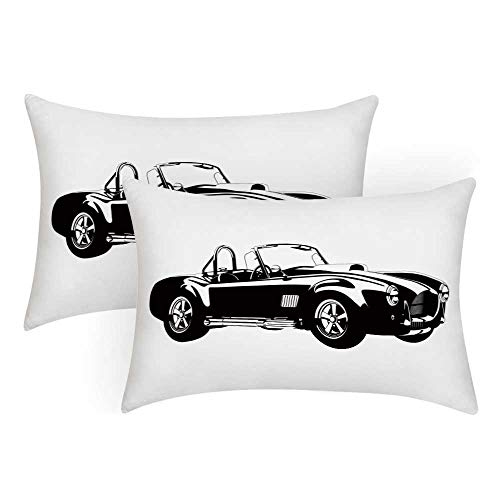 (TecBillion Cars Comfortable Pillow Covers,Silhouette Classic Sport Car Ac Cobra Roadster American Antique Engine Autosport for Bedroom Living Room,King(36