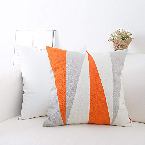 baibu Cotton Embroidery Decor Throw Pillow Cover Contrast Color Pattern Accent Pillow Case Orange