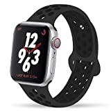 YC YANCH Greatou Compatible for Apple Watch Band 38mm,Soft Silicone Sport Band Replacement Wrist Strap Compatible for iWatch Apple Watch Series 3/2/1,Nike+,Sport,Edition,S/M,Anthracite/Black