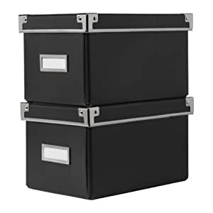 KASSETT CD STORAGE BOX WITH LID BLACK