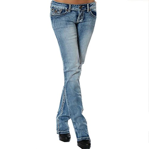 (EVEDESIGN Women's Slim Fit Low Rise Jeans Stretch Straight Embroider Bootcut Denim Pants)