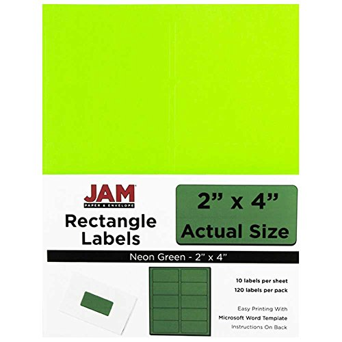 JAM PAPER Shipping Address Labels - Standard Mailing - 2 x 4 - Neon Fluorescent Green - 120/Pack ()