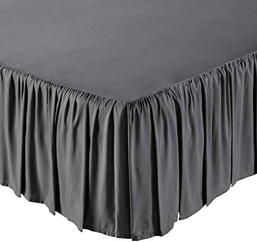 KP Linen Ruffled Bed Skirt with Split Corners Queen Size (21 Inch Drop) Platform Dust Ruffle with 400 Thread Count Microfiber Wrinkle Free(Dark Grey Solid)