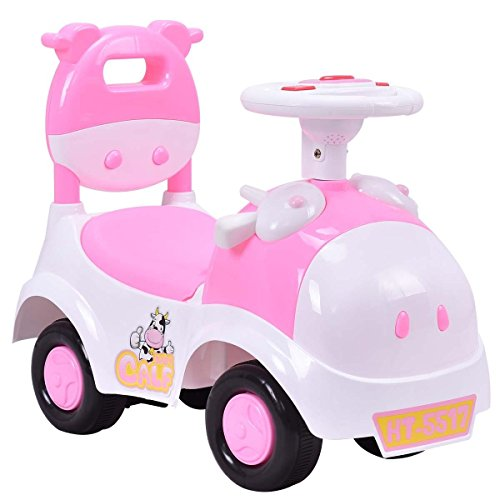 Costzon Kids Ride On Push Car, 3 in 1 Sliding Car Pushing Cart, Toddlers Ride On Toy w/ Working Horn & Music (Pink&White)