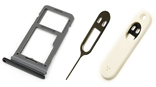 Dual Slots Sim Card Tray + Micro SD Memory Card Holder Slot + Pin Opener + Pouch Holder For Samsung Galaxy S8 G950 and S8 + Plus G955 All Carriers (Oem Card)