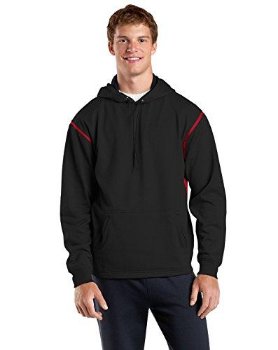 Sport-Tek Men's Tech Fleece Colorblock Hooded Sweatshirt XXL Black/True Red
