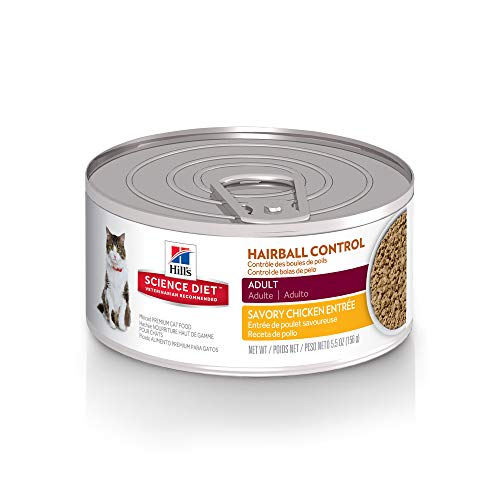 Hill'S Science Diet Adult Wet Cat Food, Hairball Control Savory Chicken Entrée Minced Canned Cat...