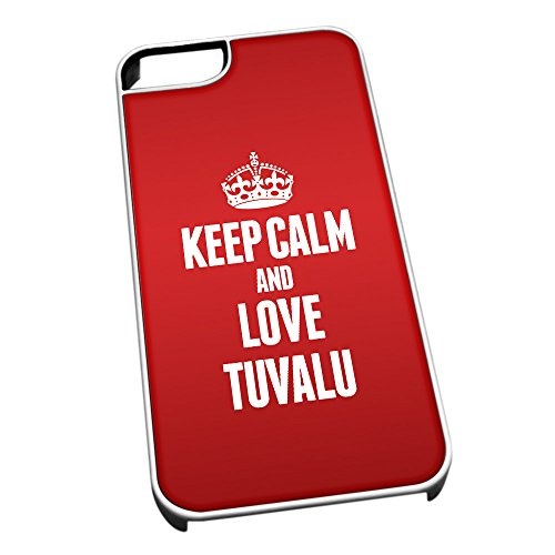 Bianco Cover per iPhone 5/5S 2300 Rosso Keep Calm And Love Tuvalu