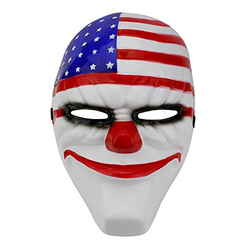 [Rubility Game Masks Cosplay Polyresin Mask Gift for Halloween Party, Masquerade, Stage Performance, Carnival and Bar National] (Smiley Horror Mask)