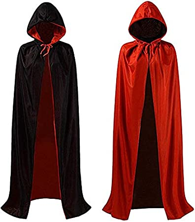 OLES 55inch Red /& Black 140cm Halloween Hooded Cloak Adult Reversible Witch Cape for Vampires Cosplay Halloween Costumes
