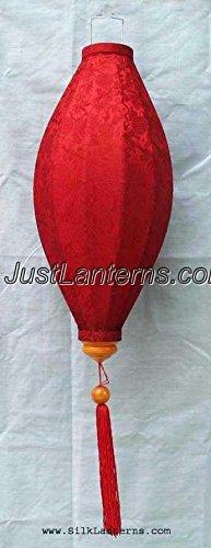 Vietnamese Oval Silk Lantern- (Red)