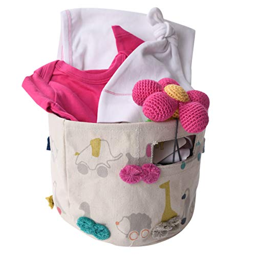 Pink Organic Gift Basket for Baby with Flower Rattle ()