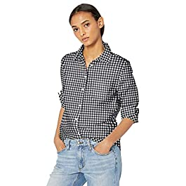 Amazon Essentials Women's Classic-Fit Long Sleeve Button Down Poplin Shirt