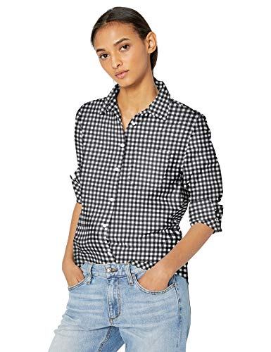 Amazon Essentials Women's Classic-Fit Long-Sleeve Poplin Patterned Shirt, Classic Gingham, M (Black And White Plaid Button Up Shirt)