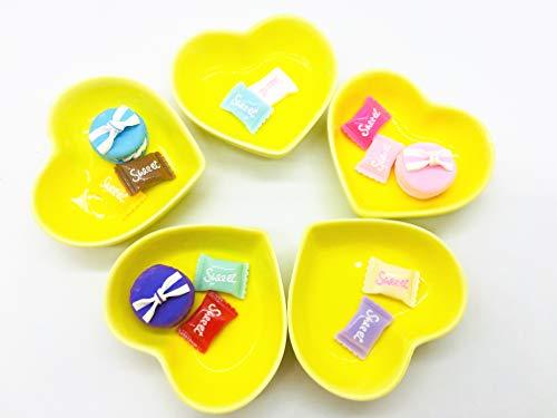 Set of 5 Cute Color Mini Heart Porcelain Dishes Serving Bowls for Appetizer Dessert Salad Snack Sushi Fruit (5, ()