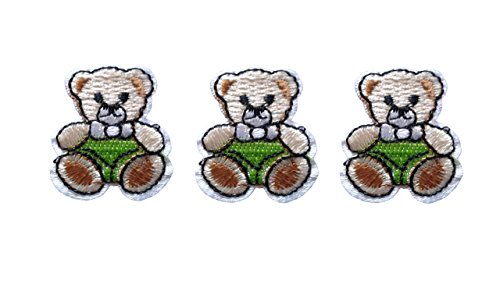 3 small pieces Green TEDDY BEAR Iron On Patch Fabric Applique Motif Children Scrapbooking Decal 1.3 x 1.1 inches (3.3 x 2.8 cm)