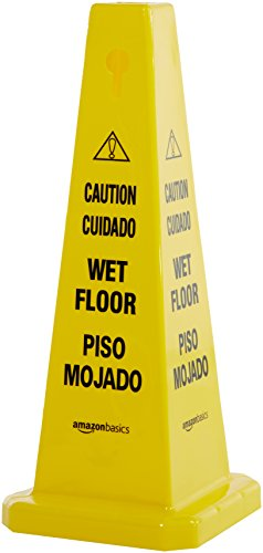 AmazonBasics Floor Safety Cone, Caution Wet Floor, 26 Inch, Bilingual, 6-Pack