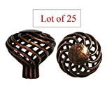 Glob Shop Lot of 25 Antique Copper machined Birdcage Kitchen Bathroom Cabinet Knobs 40mm