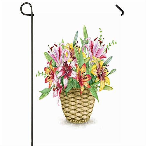Ahawoso Outdoor Garden Flag 12x18 Inches Basket Pink Birthday Watercolor Lilies Nature Hand Vintage Yellow Blooming Blossom Bouquet Classic Seasonal Double Sided Home Decorative House Yard Sign