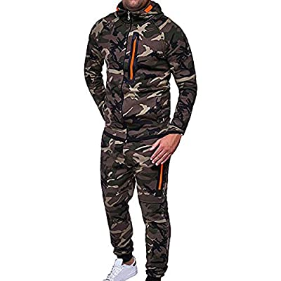 Zainafacai 2Piece Tracksuit, Men's Biker Camouflage Patchwork Sweatshirt and Pants Jogging Sweat Suits