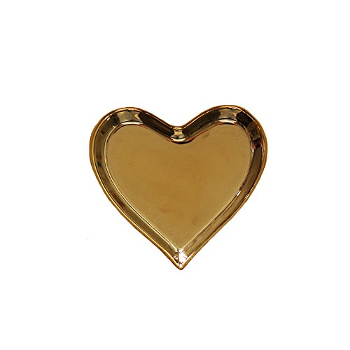 Ceramic heart shape ring dish holder Jewelry tray trinket holder for Home Decor Dish Wedding Birthday Xmas Gift (brass color) by QILICHZ (Image #6)