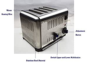 4-slice Toaster 110v Stainless Steel House Hold Toster Tool 2kw Auto-lift(item#210060)