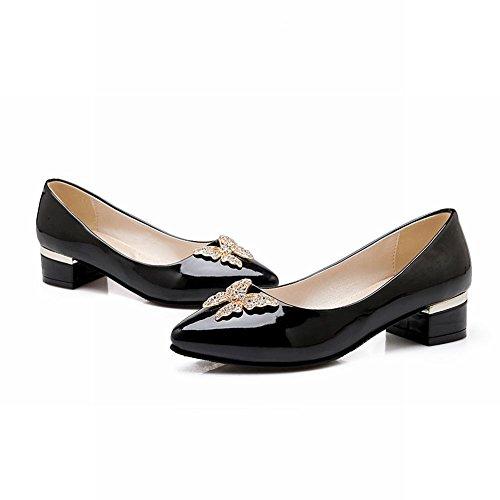 MissSaSa Damen Strass Schmetterling Pumps mit Blockabsatz aus Lackleder modern Pointed Toe Büroschuhe Schwarz
