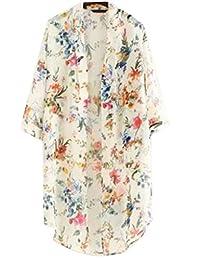 The Bazaar R Women Printed Half Sleeve Chiffon Kimono Cardigan Coat Tops Blouse