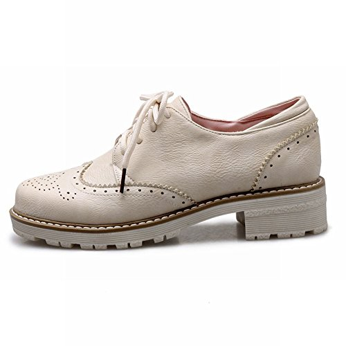 Latasa Womens Lace-up Chunky Low Heel Oxfords Beige EZ0Wh5qJ