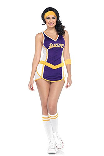 [Mememall Fashion Sexy Lakers Dress Adult Halloween Costume] (Deluxe Plush Cow Mascot Costumes)