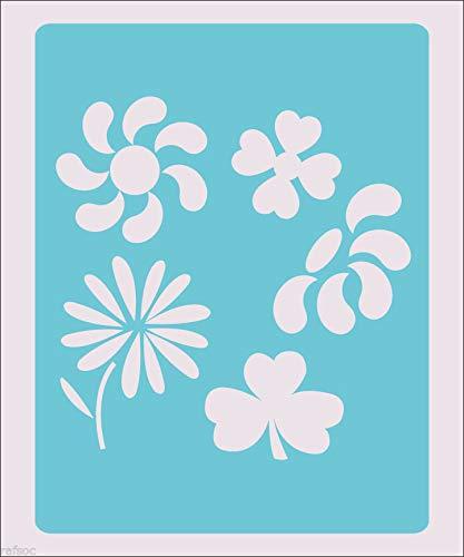OutletBestSelling 再利用可能な丈夫なステンシルフラワー 植物 花 デイジークラフト ペイントウォールデコレーション ファブリック 5.0x6.5インチ B07HP8VJM9