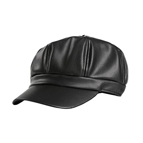 Benficial Octagonal Cap, Womens Fashion British Retro Cap Casual Solid Color Hat Pu Painter hat Black ()