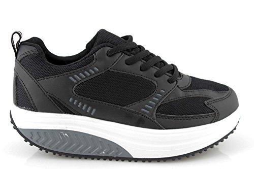 Zapatos Mujer dimagranti rassoda Glúteos Benessere deportivas Fitness basculantes rassodanti blanco y negro
