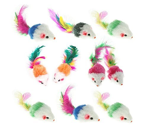 Cheap Ypet Furry Pet Cat Toys Mice, Cat Toy Mouse, Pet Toys for Cats, Cat Catcher for Feather Tails, 10 Counting