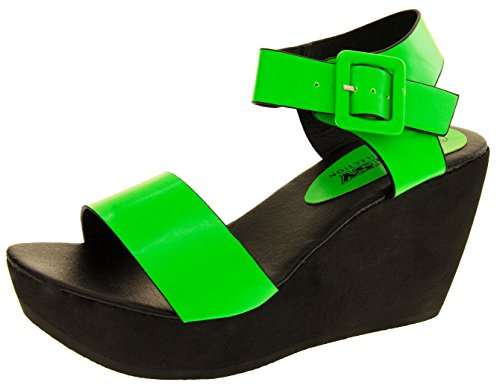 Footwear Studio Betsy Womens Faux Leather Strappy Wedge Sandals Green