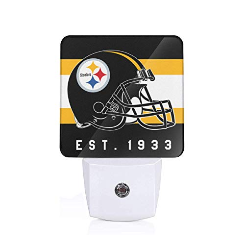 (Gdcover Pittsburgh Steelers Helmet Design Plug-in LED Night Light with Dusk-to-Dawn Sensor for Bedroom)