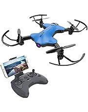 ATOYX AT-146 Drone 720P FPV WiFi Quadcopter Foldable avec Caméra HD Réglable 150°,Positionnement du Flux Optique Mode sans Tête 3D Flips,Induction par gravité hélicoptère pour Enfants/ Débutants