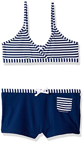 Girls' 2-Piece Swimsuit with Boardshorts, Navy Stripe, 5 ()