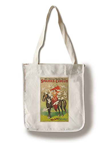 Sparks Circus - Lantern Press Sparks Circus - Mlle Du Val USA c. 1918 - Vintage Advertisement (100% Cotton Tote Bag - Reusable)