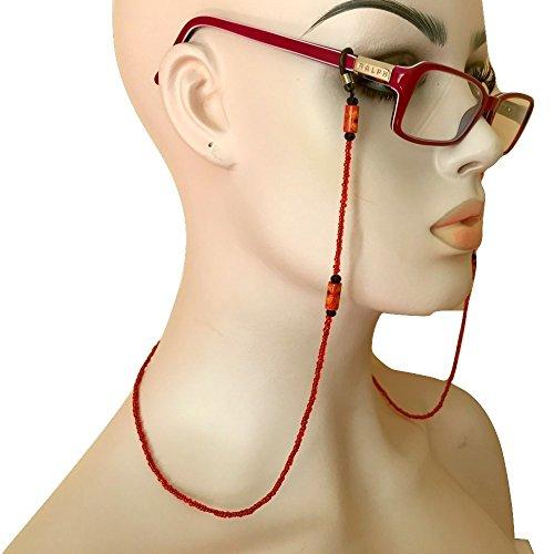 Red Beaded Eyeglass Chain Holder Handmade