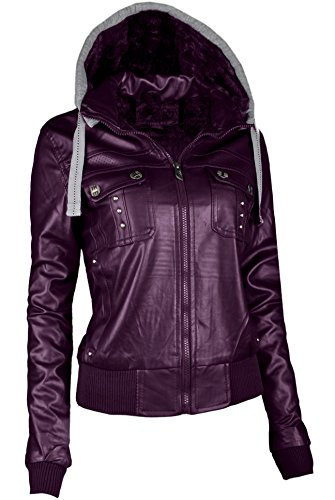 Womens Purple Leather Jacket - 6