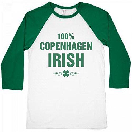 FUNNYSHIRTS.ORG 100% Copenhagen Irish St. Patrick's Day: Unisex 3/4 Sleeve Raglan - Bar Copenhagen Tequila
